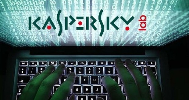 kaspersy lab, logo, laptop, hands, keyboard, hacker