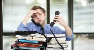 εργασία, στρες, υπάλληλος, ντοσιέ, τηλέφωνα