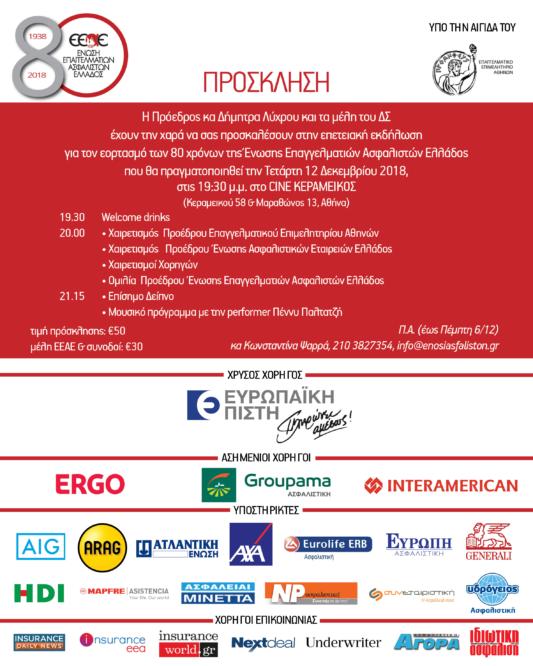 Πρόσκληση, εκδήλωση για τα 80 χρόνια της ΕΕΑΕ