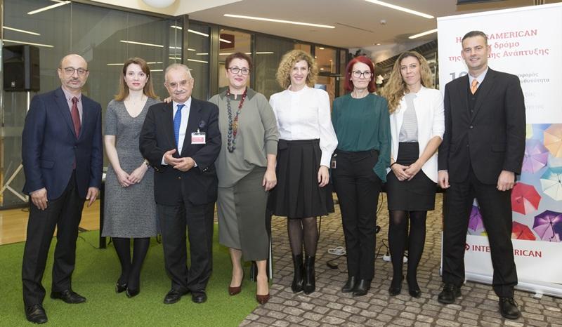 Γιάννης Ρούντος (INTERAMERICAN), Σταυρούλα Σταματοπούλου (Ernst & Young), Δημήτρης Δανηλάτος (CSR Hellas), Χρυσούλα Εξάρχου (Quality Net Foundation), Χρύσα Ελευθερίου, Σοφία Εμμανουήλ, συντονίστρια, Κιάρα Κόντη (Ernst & Young) και Μιχάλης Σπανός (Global Sustain)
